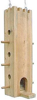 "Castle bird feeder is a squirrel-proof feeder made of 3/4"" wood with castle craft features."