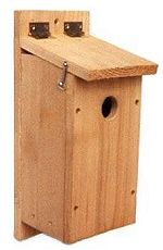 A birdhouse for chickadees, nuthatches, titmice and downy woodpeckers.