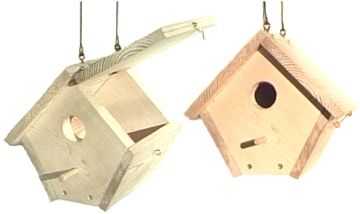 Visit the swinging birdhouse page for woodworking plans and instructions