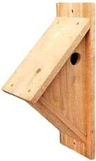 Print side mounted birdhouse plans for chickadees, nuthatches, titmice, wrens and swallows