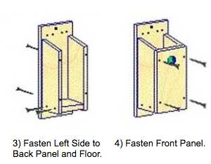 Nest box assembly: Fasten left side and front panel.