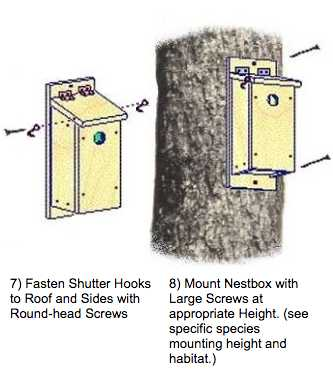 Mount nest box with screws.