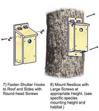 Mount nest box with screws.