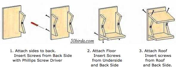 Swallow shelter assembly illustrations.